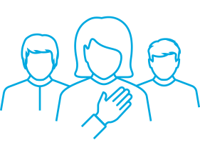 People with hand on heart icon