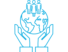 Globe with people in hands icon