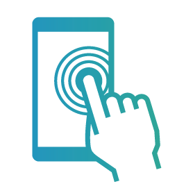 Finger touching smartphone icon