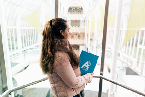 Arden University student in study center